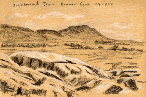 Ingleborough from Runscar Scars, Ribblehead, Yorkshire Dales. Sketch: Keith Melling