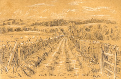 Mark House Lane near Bell Busk, Airedale, Yorkshire. Sketch: Keith Melling