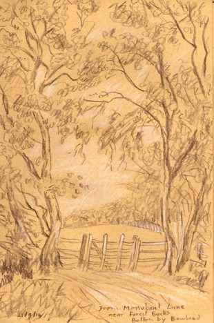 On Monubent Lane, Forest Becks, Bolton by Bowland, Lancashire. Sketch: Keith Melling