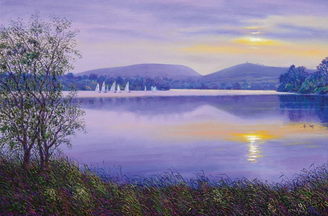 Evening Light, Lake Burwain, Foulridge, Lancashire. Painting: Keith Melling