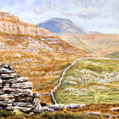 Penyghent from the Celtic wall near Feizor. Painting : Keith Melling