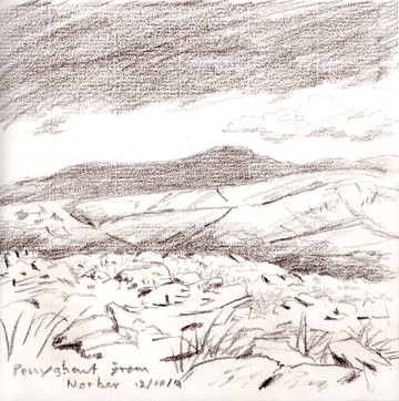 Penyghent from Norber, Yorkshire Dales. Sketch: Keith Melling