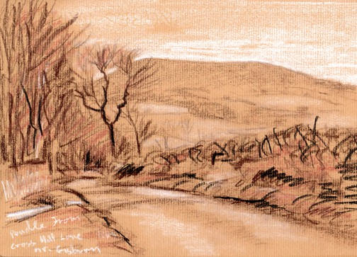 Pendle Hill from Cross Hill Lane near Rimington. Sketch - Keith Melling