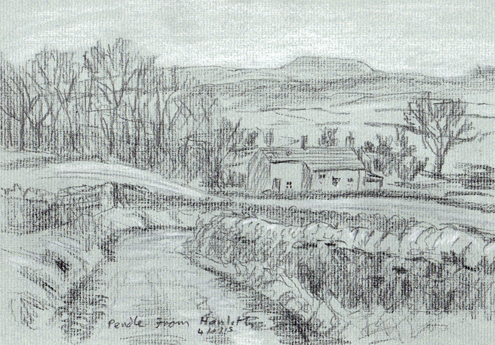 Distant Pendle from Hanlith, Malhamdale, Yorkshire Dales. Sketch: Keith Melling