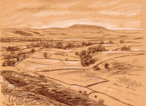 Distant Pendle Hill from Giggleswick Scar, Yorkshire Dales. Sketch: Keith Melling