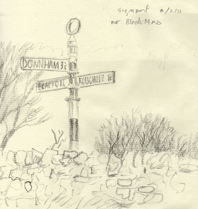 Signpost near Stang Top, Barley, Lancashire. Sketch : Keith Melling