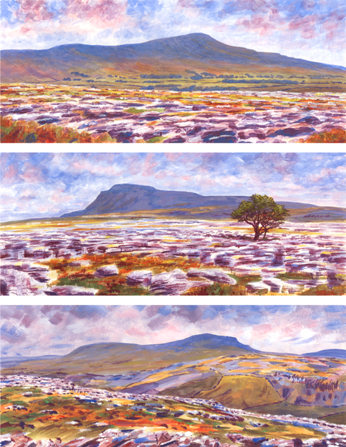 Three Peaks, Yorkshire Dales. Painting by Keith Melling