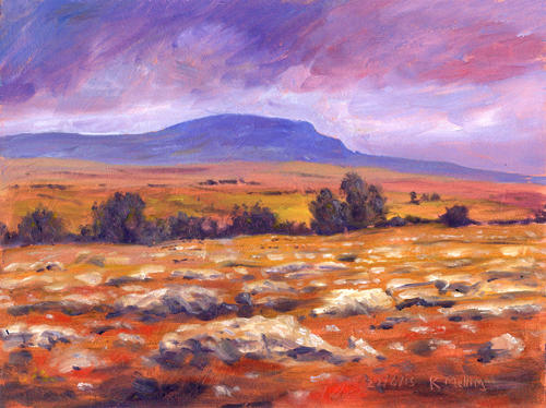 Pen-y-ghent from near Selside, Yorkshire Dales. Painting Keith Melling