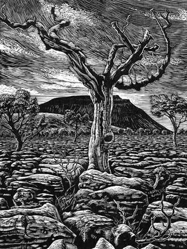 Ingleborough from Southerscale Scars, Yorkshire Dales. Wood engraving by Keith Melling