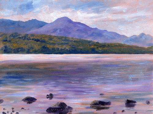 Across Coniston Water to the Old Man. Painting : Keith Melling