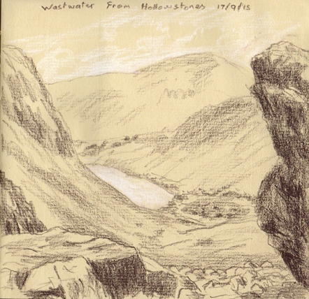 Wastwater from Hollowstones, Lake District. Sketch Keith Melling