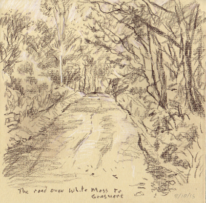 Road over White Moss to Grasmere, Cumbria. Sketch Keith Melling