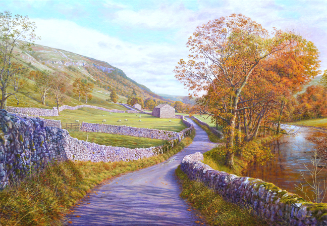 Limestone country, Littondale. Painting Keith Melling