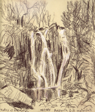 Posforth Gill waterfall, Valley of Desolation, Bolton Abbey. Sketch Keith Melling