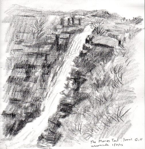 The Mares Tail, Force Gill, Whernside, Yorkshire Dales. Sketch Keith Melling