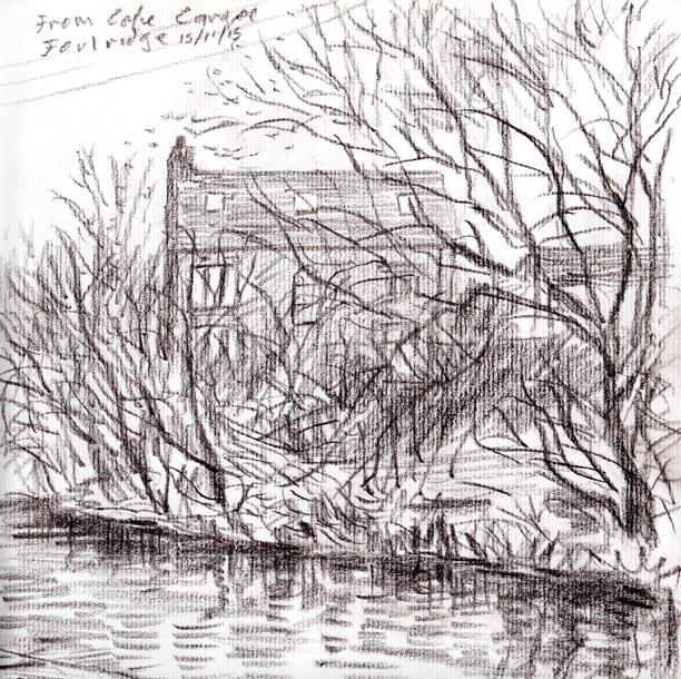 From Cafe Cargo, Foulridge Wharf, Lancashire. Sketch Keith Melling