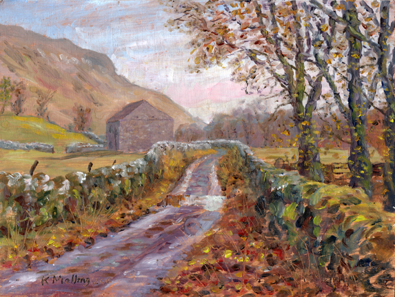 The Hawkswick road near Arncliffe, Yorkshire Dales. Sketch Keith Melling