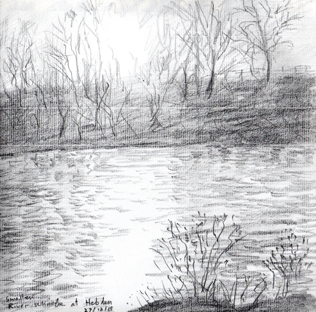 River Wharfe at Hebden, Yorkshire Dales. Sketch Keith Melling