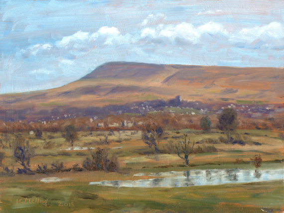 Pendle Hill & Clitheroe from Bashall Barn, Lancashire. Artist: Keith Melling