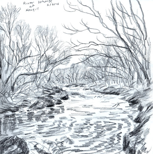 River Wharfe at Howgill, Yorkshire Dales. Drawing Keith Melling