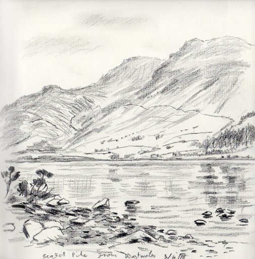 Scafells from Wastwater, Cumbria. Artist Keith Melling