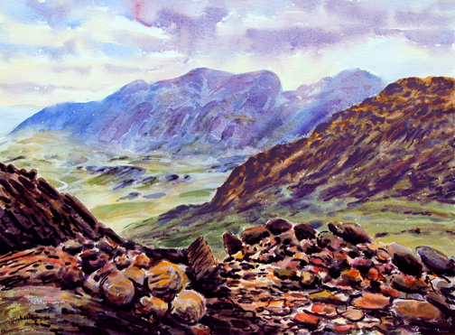 Scafells from Crinkle Crags, Lake District. Artist Keith Melling