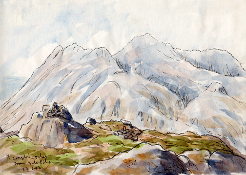 Langdale Pikes from Side Pike, Lakeland. Watercolour sketch Keith Melling