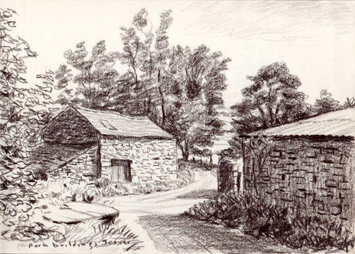 Farm Buildings, Torver, Lake District. Drawing by Keith Melling