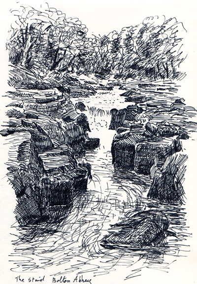 Strid, Bolton Abbey, Yorkshire Dales. Sketch Keith Melling