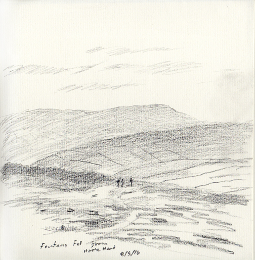 Fountains Fell from Horse Head Moor, Littondale, Yorkshire Dales. Sketch Keith Melling
