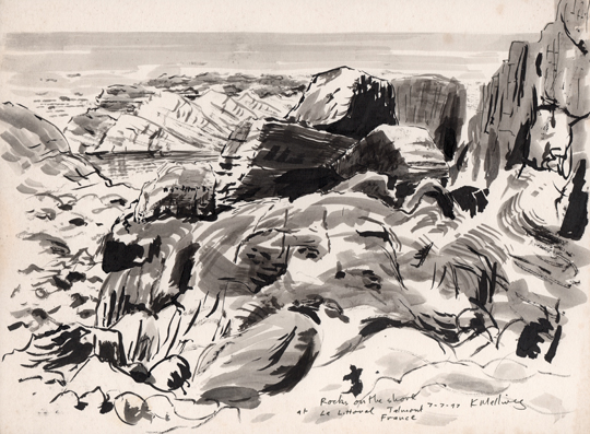 Rocks on the shore, Le Littoral, France. drawing Keith Melling