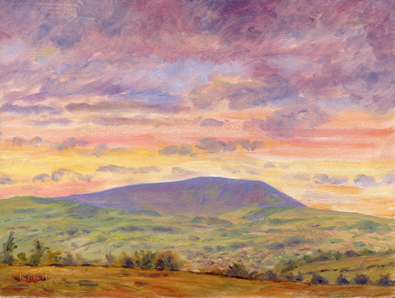 Pendle Hill from near Walton Spire. Plein air oil painting Keith Melling
