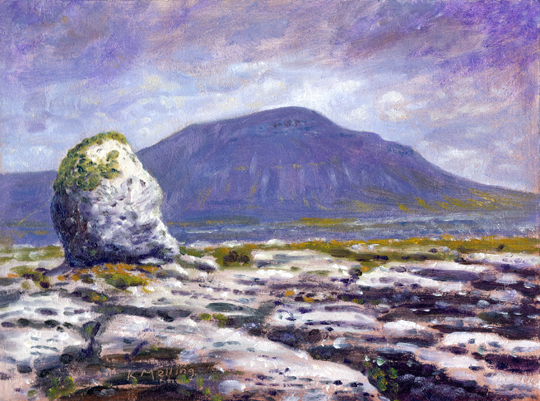 Ingleborough from Twiselton Scars. Painting Keith Melling