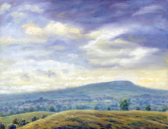 Longridge Fell and Ribble Valley from Worsaw Hill. Artist Keith Melling