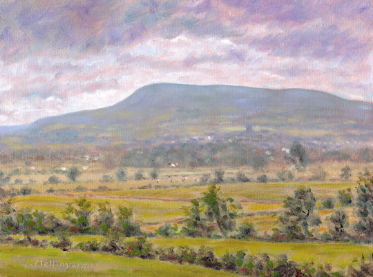Pendle Hill and Clitheroe from Bashall Town, Lancashire. Plein air painting - Keith Melling