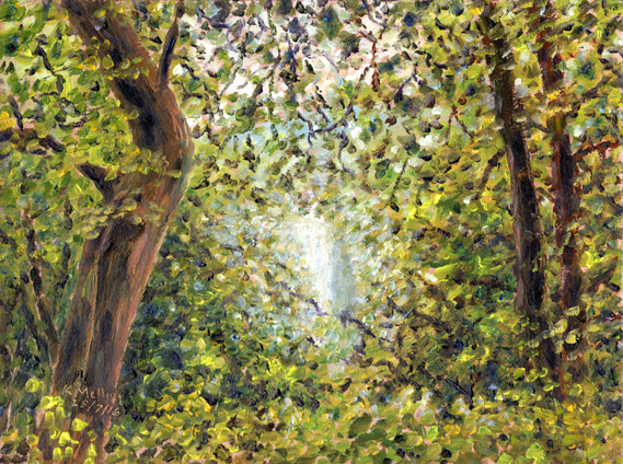 River Wharfe shining through trees at Bolton Woods. Painting Keith Melling