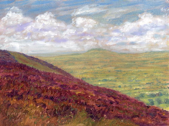 Distant Beacon Fell from Spire Hill, Longridge Fell. Painting Keith Melling