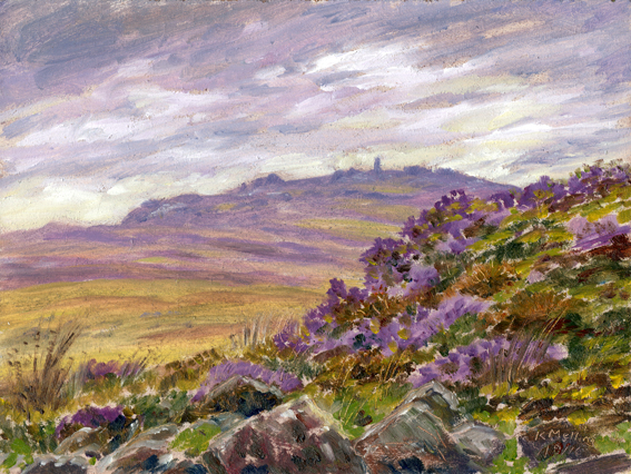 On Embsay Moor, North Yorkshire. Painting Keith Melling
