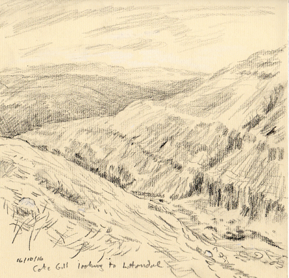 Cote Gill, looking to Littondale. Sketch Keith Melling