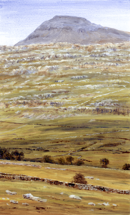 Ingleborough and Raven Scar, Yorkshire Dales. Painting : Keith Melling