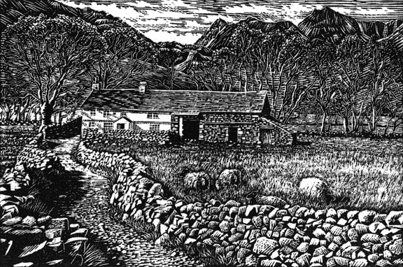 Bridge End Farm, Little Langdale, Lake District. Wood engraving by Keith Melling
