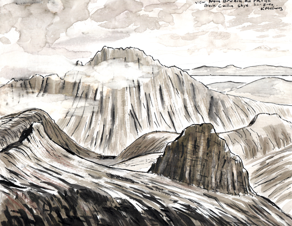 View from Bruach na Frithe, Cuillins, Skye. Sketch Keith Melling
