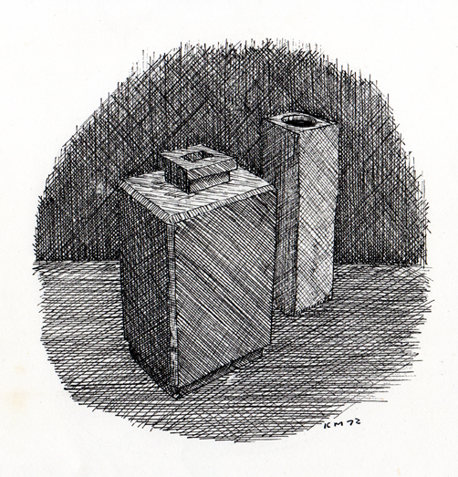 Two Slab Pots 1972. Drawing Keith Melling