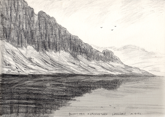 Pavey Ark & Stickle Tarn. Sketch Keithy Melling