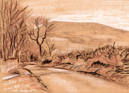 Pendle hill from Cross Hill Lane near Rimington. Sketch Keith Melling