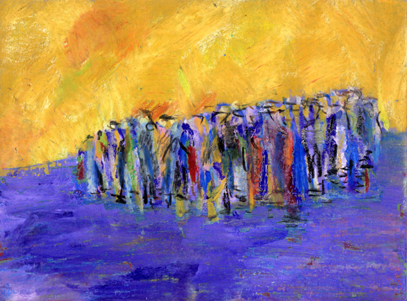 Crowd Gathering. Artist Keith Melling