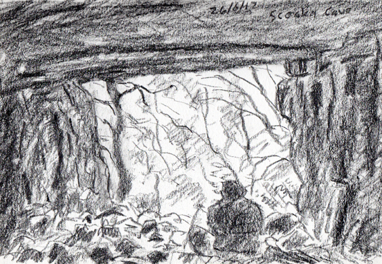 Scoska Cave, Littondale, Yorkshire Dales. Sketch Keith Melling