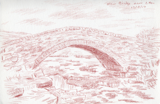 New Bridge near Litton, Yorkshire Dales. Sketch Keith Melling