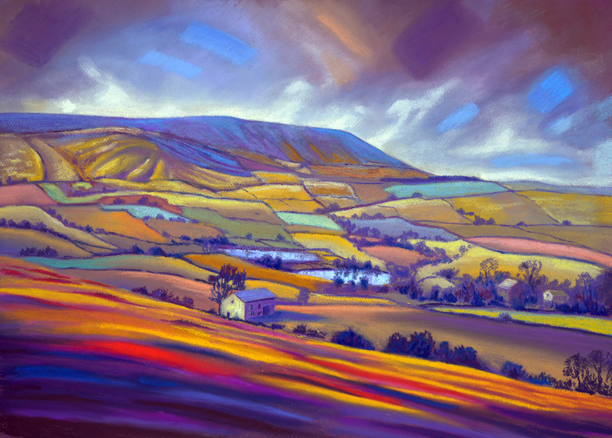 Pendle from Barley Hill. Pastel painting by Keith Melling