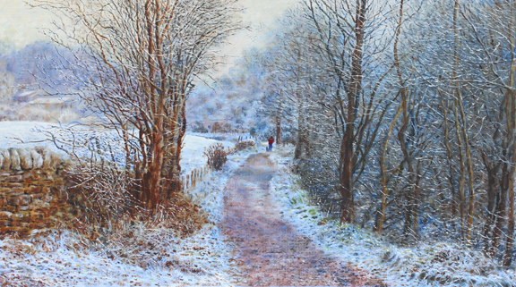 Hoar Frost at Narrowgates. Painting by Keith Melling